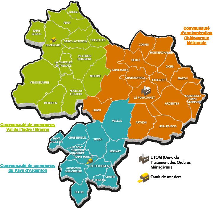 Carte du territoire du sytom36